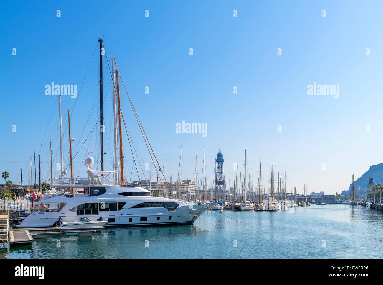 The marina in Port Vell (Old Port) in Barcelona, Spain - Stock Image