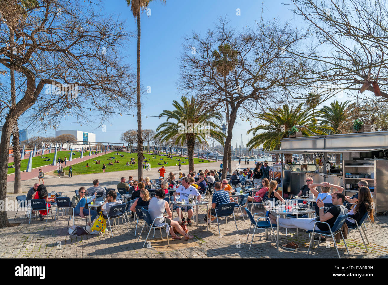 Waterfront cafe in the Port Vell (Old Port) in Barcelona, Spain - Stock Image