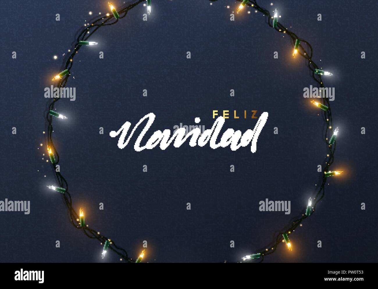 Glowing Christmas lights Wreath for Xmas Holiday greeting cards ...