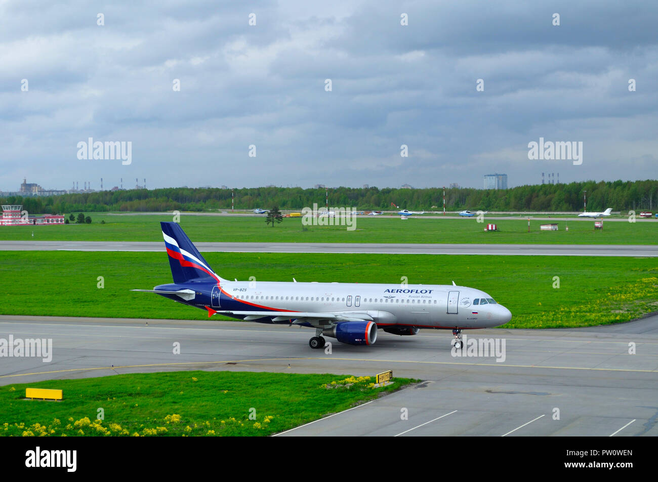 Saint Petersburg, Russia - May 23,2015. VP-BZS Aeroflot Airlines Airbus A320-214 airplane rides on the runway preparing for lift-off in Pulkovo Intern - Stock Image