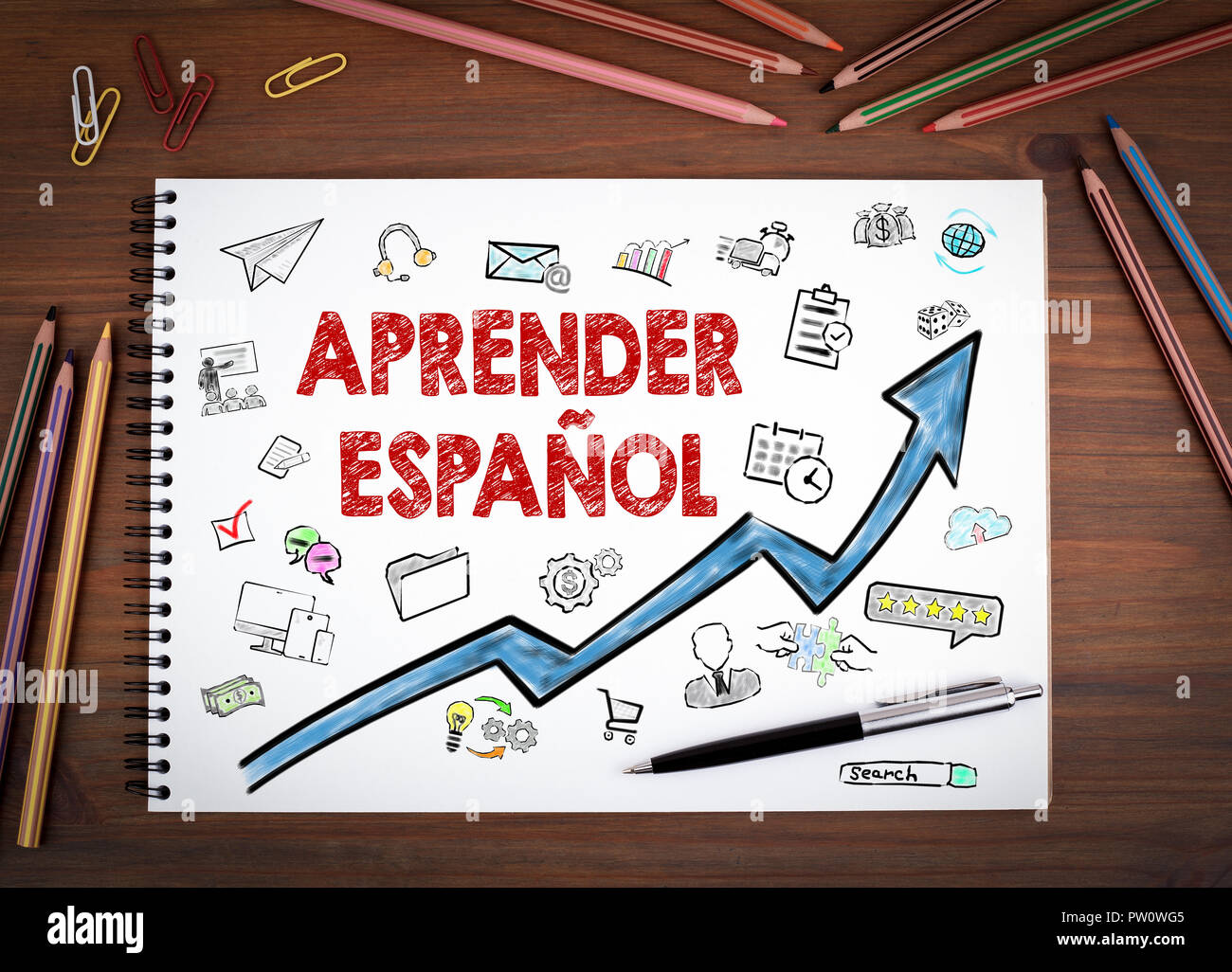 Learn Spanish, Education and Business Concept - Stock Image