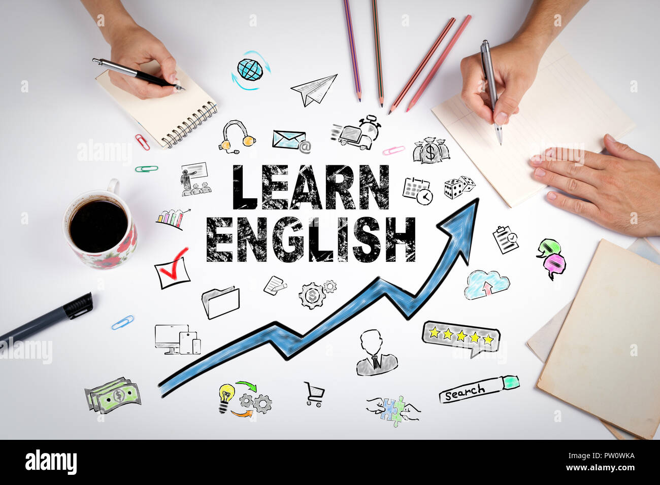 Learn English Concept. Education and career opportunities - Stock Image