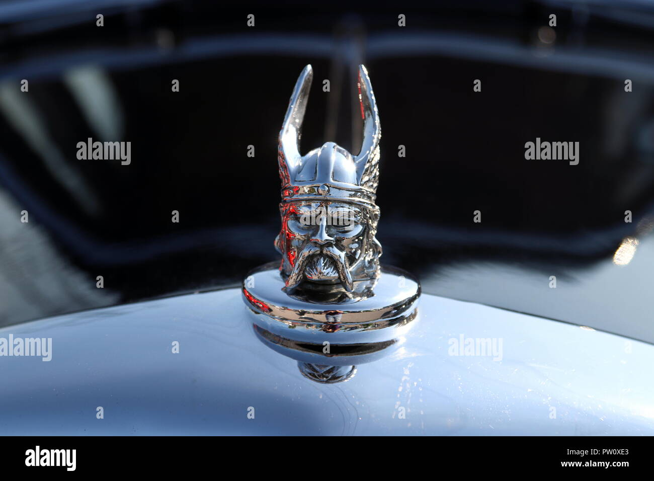 Viking hood ornament on a Rover car - Stock Image