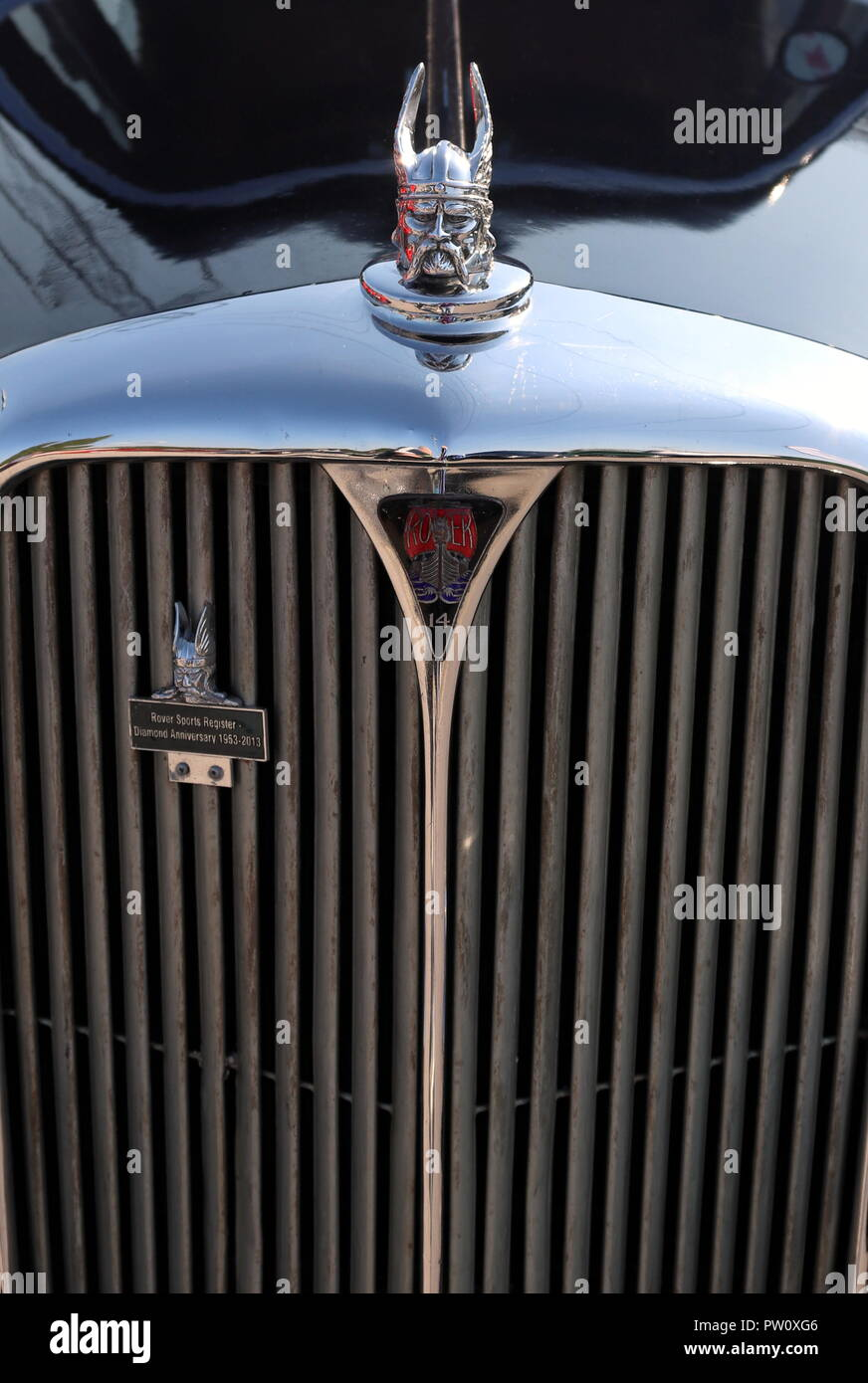 front of a rover car with the viking hood ornament - Stock Image