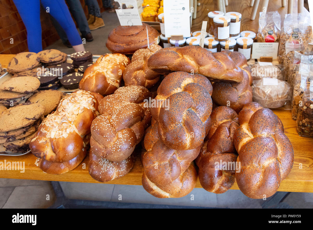 Bread and biscuit selection in patisserie, Salusbury Road, Queen's Park, London Borough of Brent, Greater London, England, United Kingdom - Stock Image