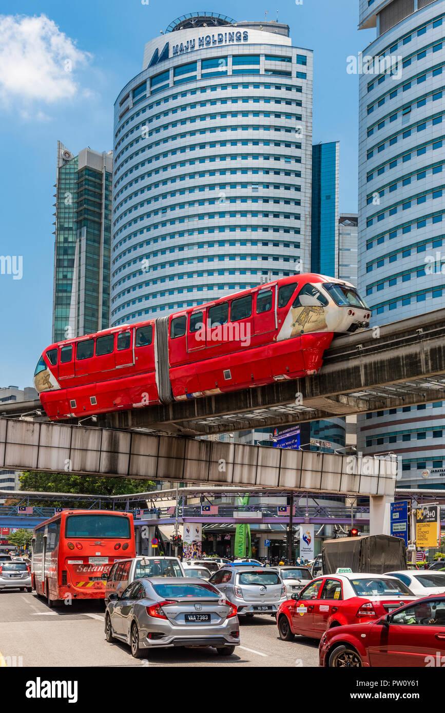 KL Monorail train, Kuala Lumpur, Malaysia - Stock Image