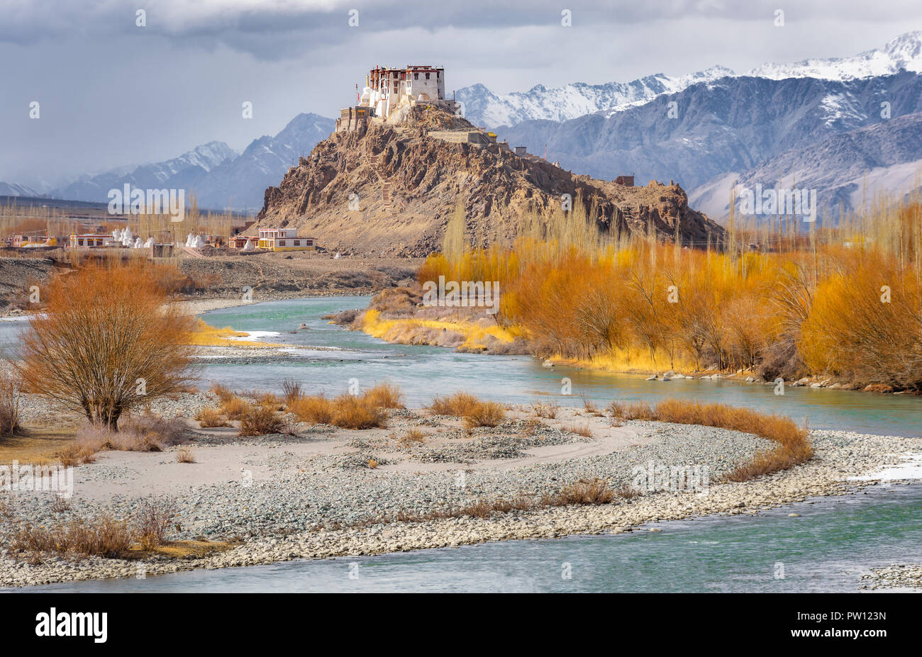 India Leh Ladakh, Matho monastery in Ladakh, Jammu and Kashmir, India. Beautiful nature, aqua river surrounded by brown golden trees and himalaya moun - Stock Image