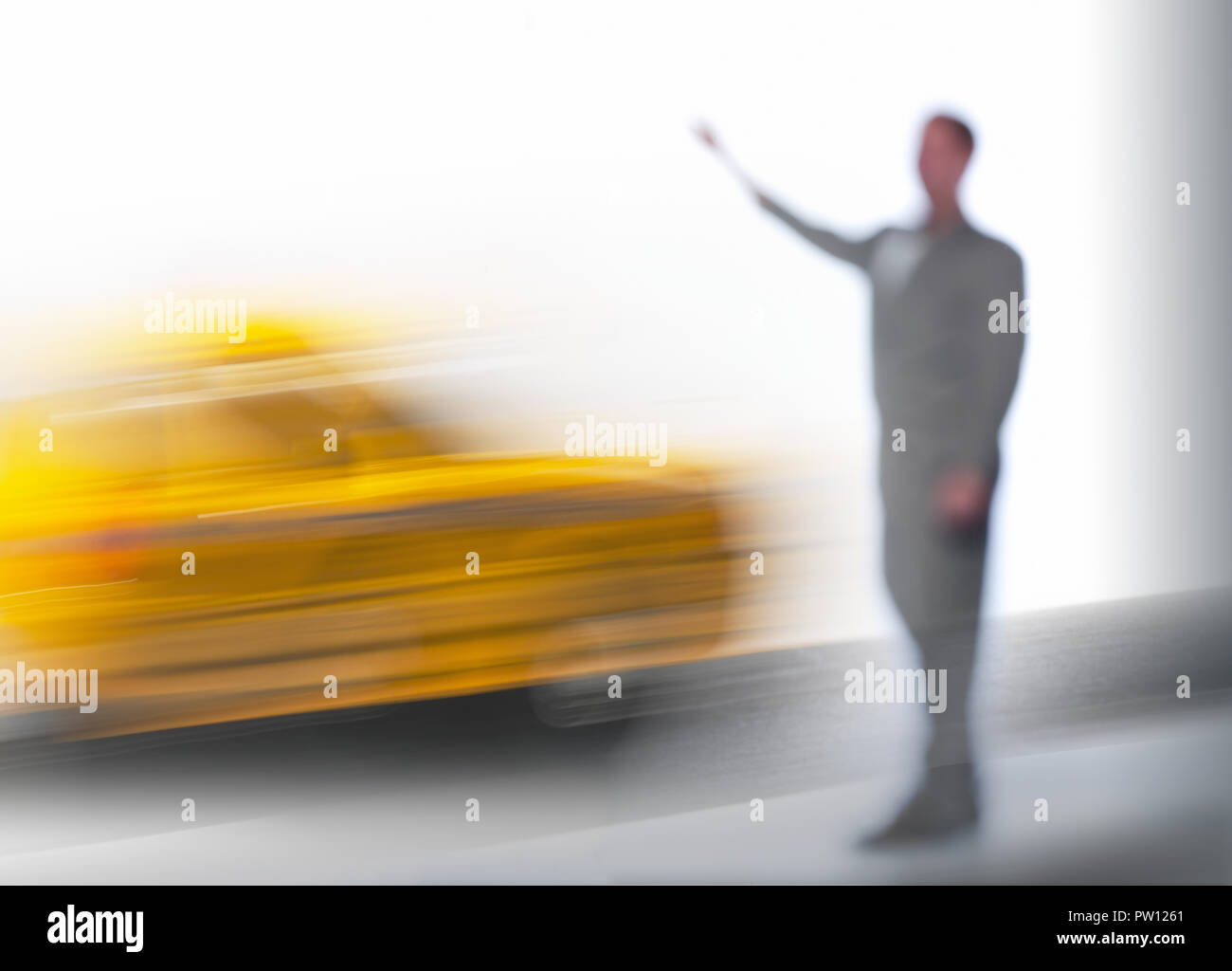 Concept A Business Man Calling A Taxi, Cab, Hectic, Busy - Stock Image