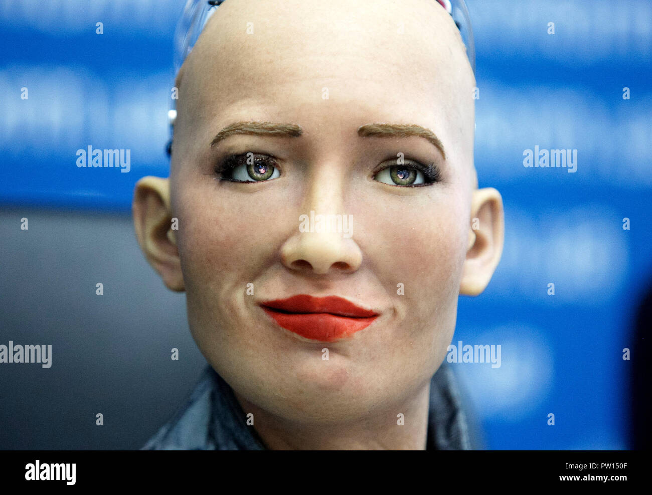 The humanoid robot Sophia speaks at a press conference in Kiev  The