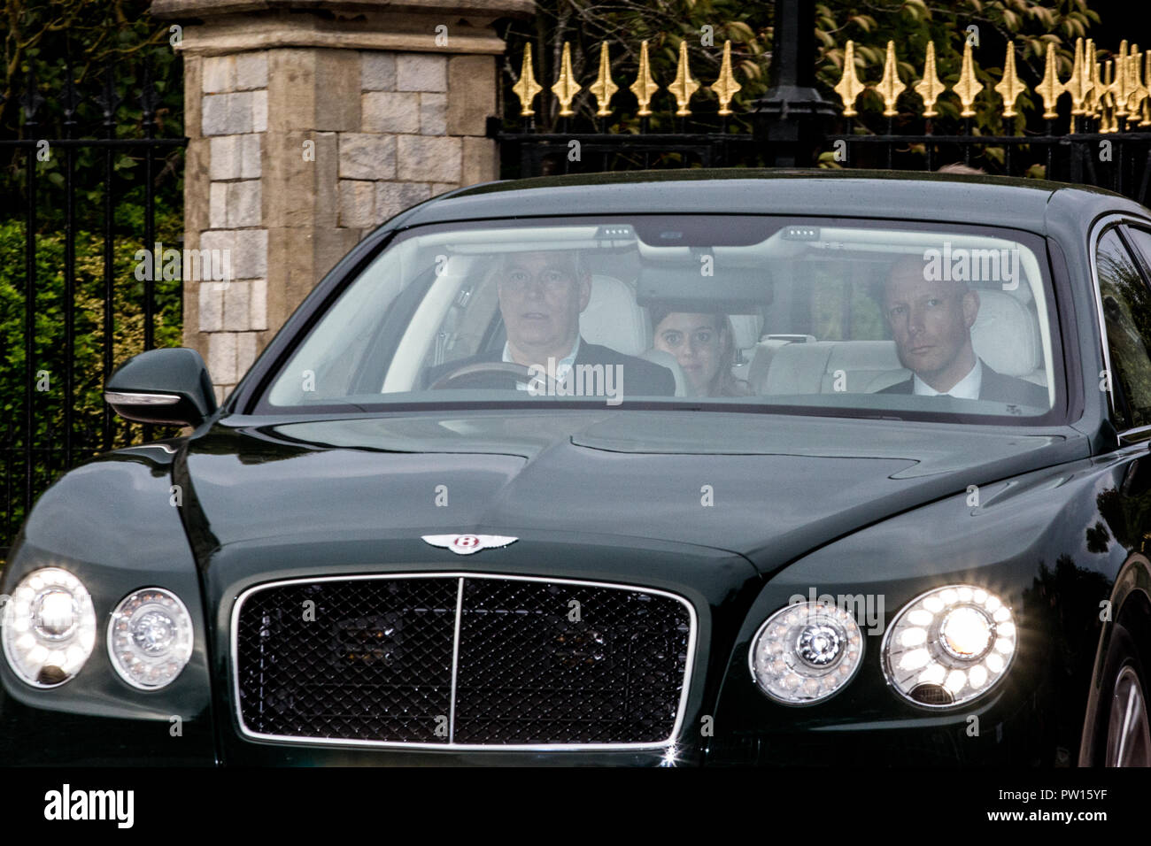 Windsor, UK. 11th October, 2018. The Duke of York and Princess Beatrice leave Windsor Castle on the eve of the wedding at St George's Chapel of Princess Eugenie and her boyfriend of around seven years Jack Brooksbank. Credit: Mark Kerrison/Alamy Live News - Stock Image