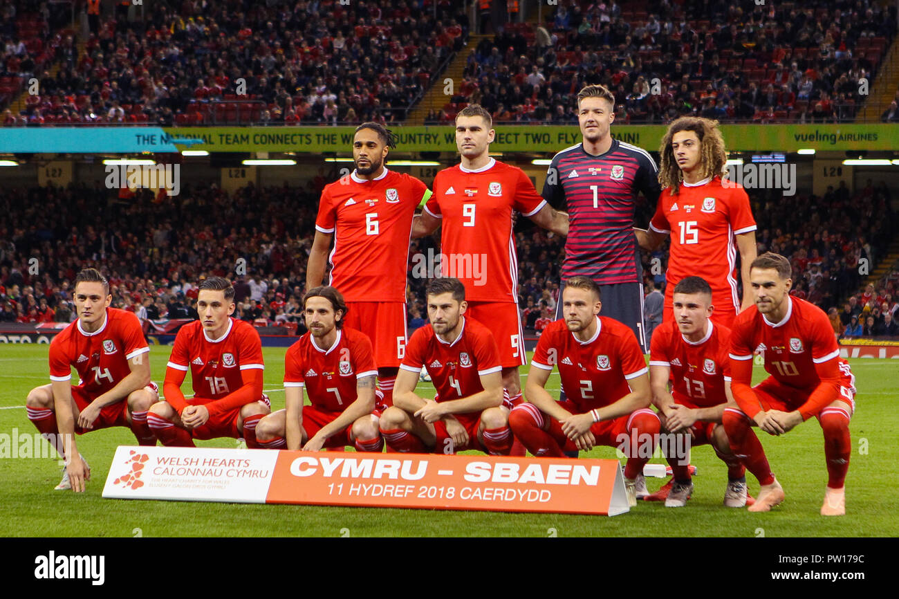 Cardiff, Wales October 11,  Back Row :- Ashley Williams, Sam Vokes, Wayne Hennessey and Ethan Ampadu of Wales.  Front Row:- Connor Roberts, Harry Wilson, Joe Allen, Ben Davies, Chris Gunter, Declan John and Aaron Ramsey of Wales.  during Exhibition Match between Wales and Spain at Principality stadium, Cardiff City, on 11 Oct  2018.  Credit Action Foto Sport Credit: Action Foto Sport/Alamy Live News Stock Photo