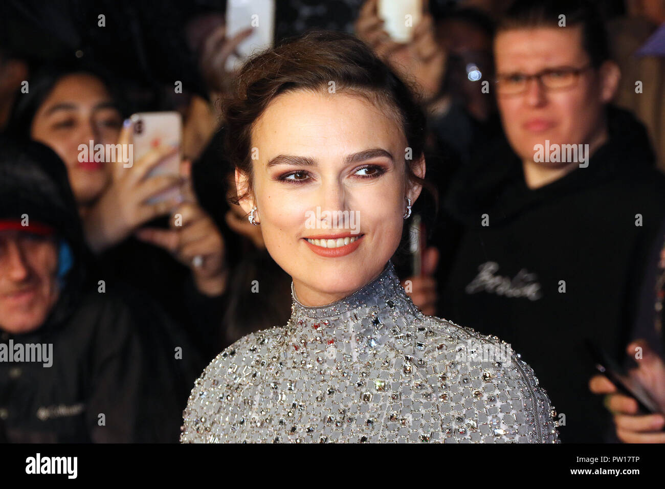 London, UK. 11th Oct 2018. Keira Knightley, Colette - UK Premiere, BFI London Film Festival Patrons Gala, Leicester Square, London, UK, 11 October 2018, Photo by Richard Goldschmidt Credit: Rich Gold/Alamy Live News - Stock Image