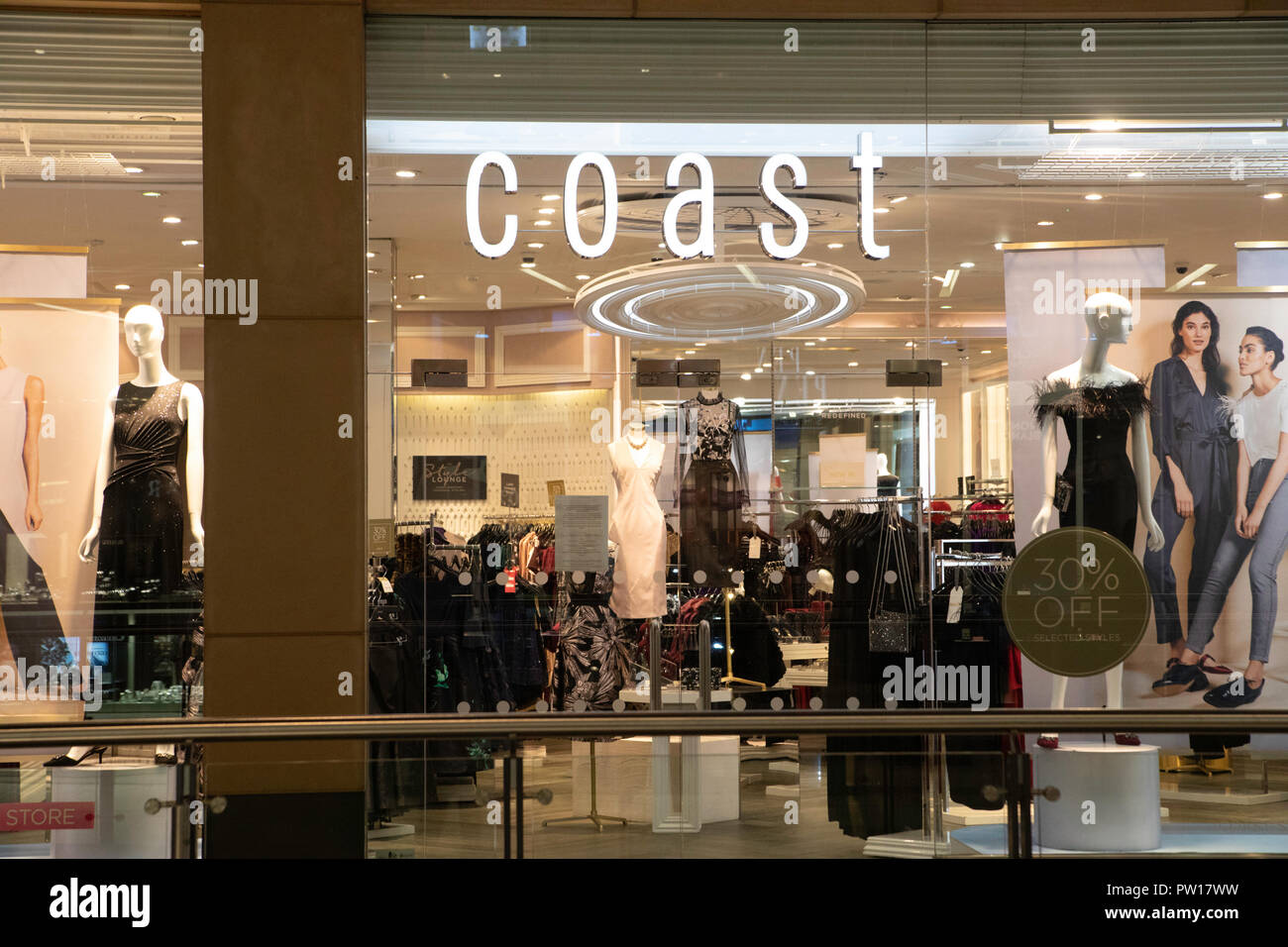 Leeds, UK. 11 October 2018. The Coast store in Leeds was closed this evening with the company announcing that it had been placed into administration Credit: James Copeland/Alamy Live News Stock Photo