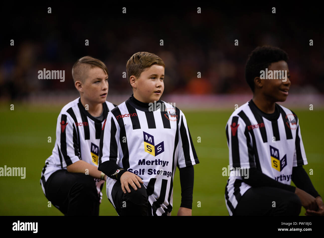 Cardiff, UK. 11th Oct 2018. Wales v Spain, International Football Friendly, National Stadium of Wales, 11/10/18: Mascots Credit: Andrew Dowling/Influential Photography/Alamy Live News Stock Photo