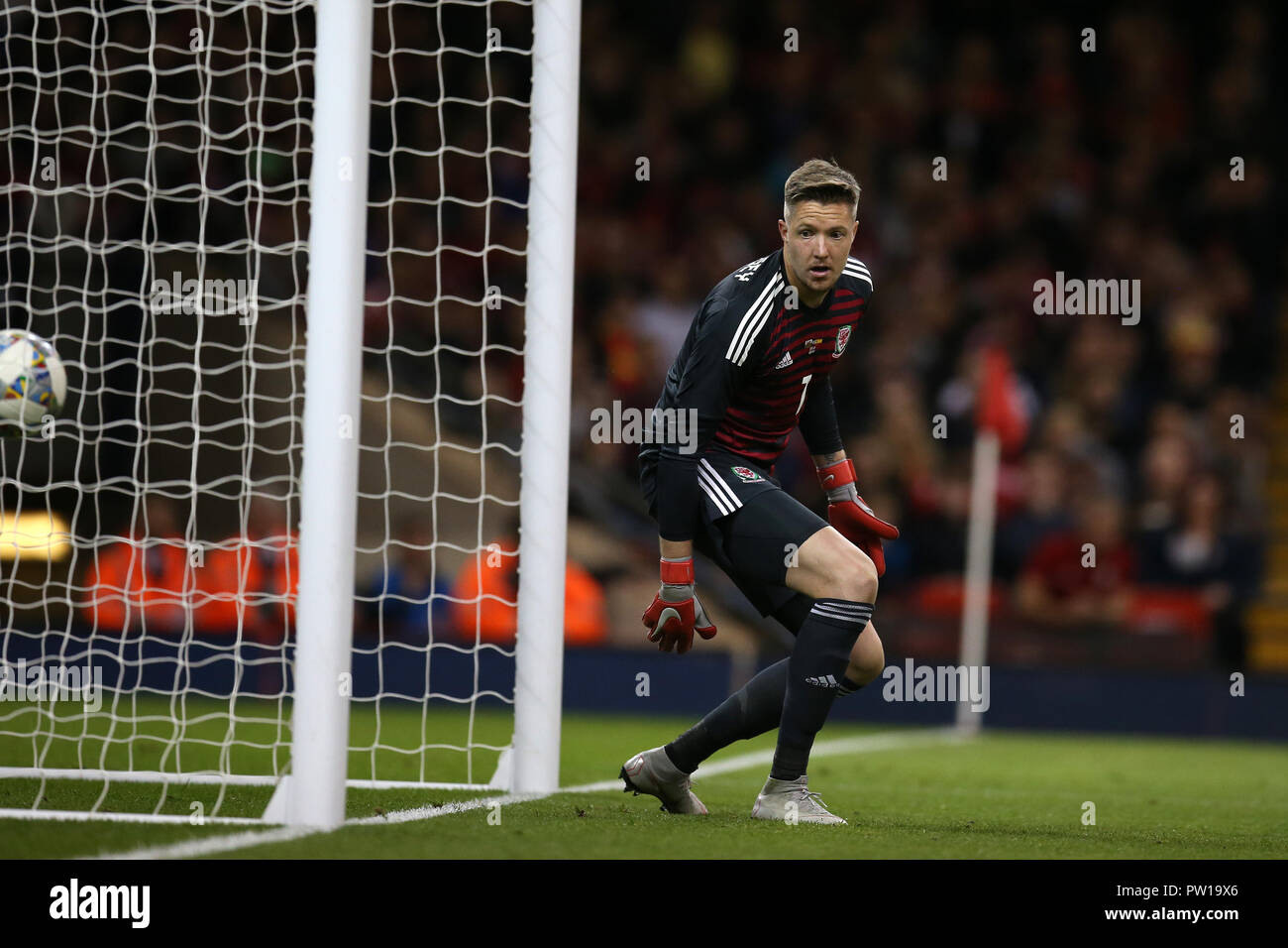 Cardiff, UK. 11th Oct 2018. Wales goalkeeper Wayne Hennessey watches the ball go past him as Sergio Ramos of Spain (not in pic) scores his sides 2nd goal. Football friendly international match, Wales v Spain at the Principality Stadium in Cardiff , South Wales on Thursday 11th October 2018. picture by Andrew Orchard/Alamy Live News Stock Photo