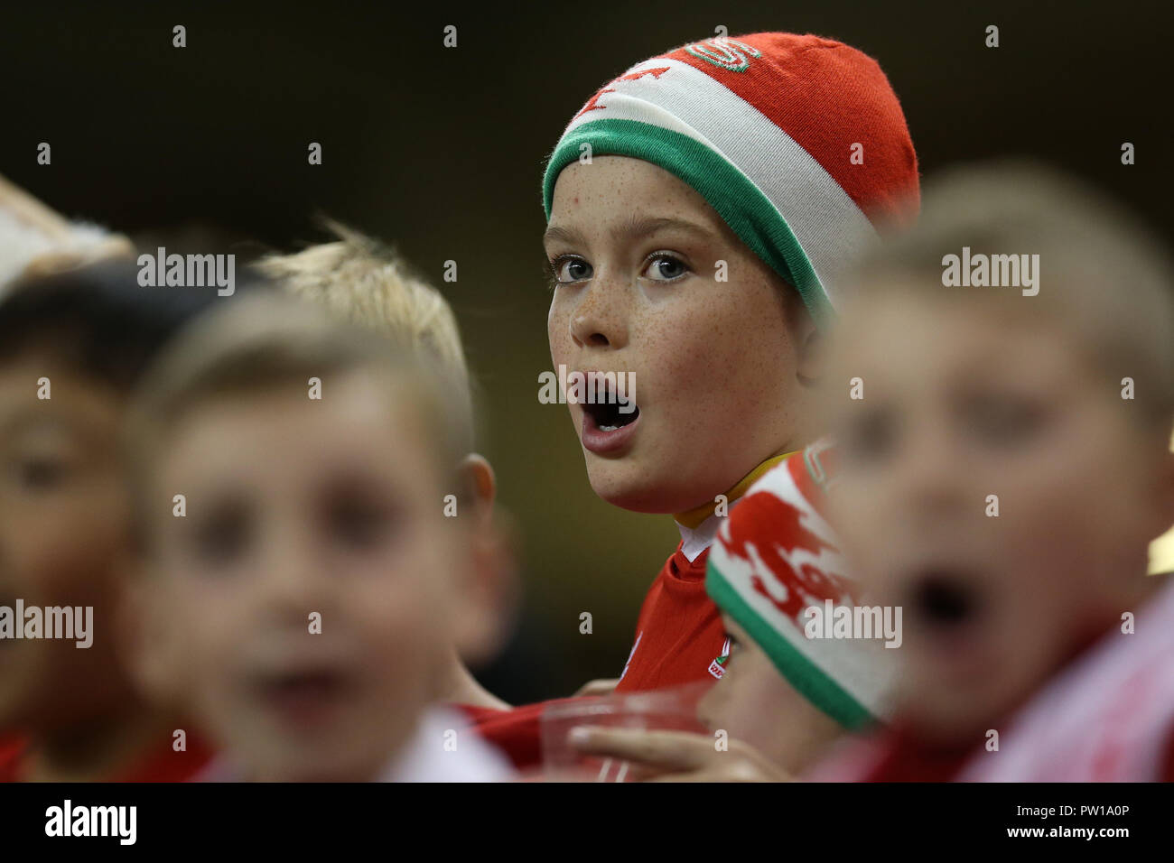 Cardiff, UK. 11th Oct 2018. young Wales fans. Football friendly international match, Wales v Spain at the Principality Stadium in Cardiff , South Wales on Thursday 11th October 2018. picture by Andrew Orchard/Alamy Live News Stock Photo