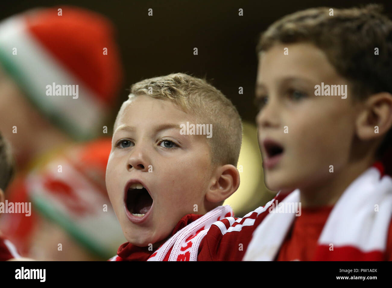 Cardiff, UK. 11th Oct 2018. young Wales fans.Football friendly international match, Wales v Spain at the Principality Stadium in Cardiff , South Wales on Thursday 11th October 2018. picture by Andrew Orchard/Alamy Live News Stock Photo