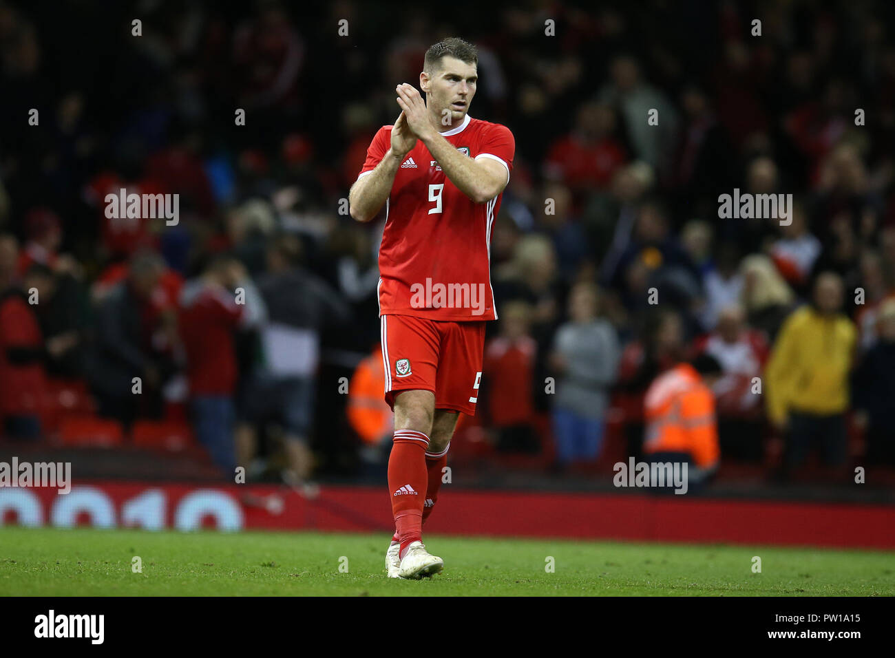 Cardiff, UK. 11th Oct 2018. Sam Vokes of Wales. Football friendly international match, Wales v Spain at the Principality Stadium in Cardiff , South Wales on Thursday 11th October 2018. picture by Andrew Orchard/Alamy Live News Stock Photo