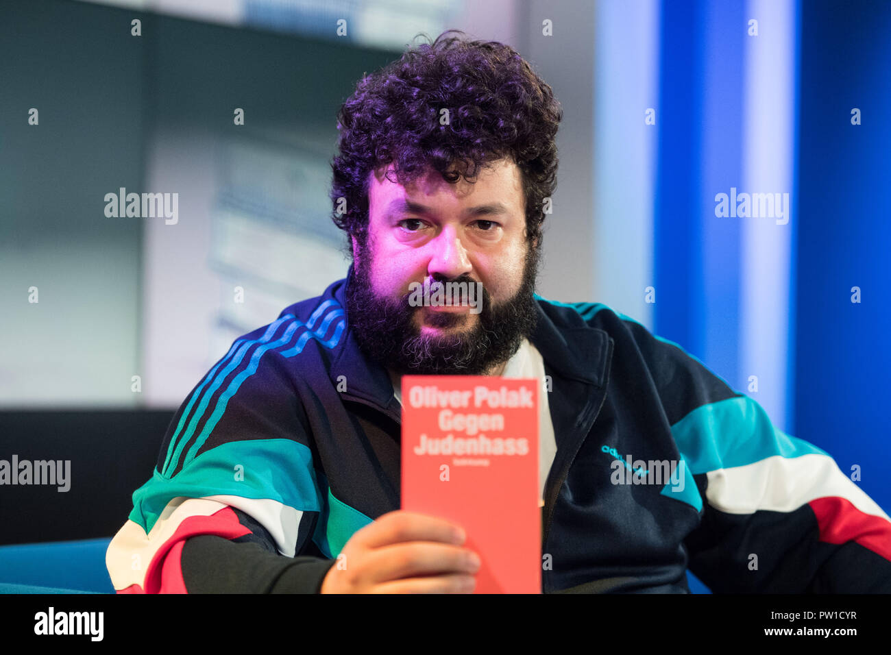 Oliver POLAK, Author, Comedian, Portrait, during the TV program 'Das blaue Sofa' at the Frankfurt Book Fair 2018 on 10.10.2018, Frankfurt Book Fair 2018 from 10.10 - 14.10.2018 in Frankfurt am Main / Germany.   Usage worldwide - Stock Image
