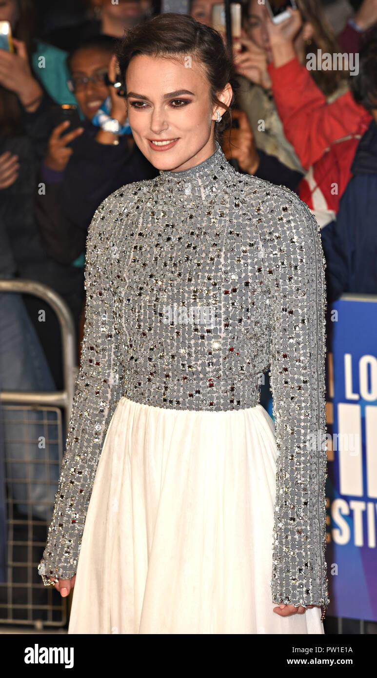 London, UK. 11th Oct 2018. Keira Knightley at the 62nd BFI London Film Festival: Colette - Patrons gala - at Cineworld Leicester Square, London on Thursday 11 October 2018  Photo by Keith Mayhew Credit: KEITH MAYHEW/Alamy Live News - Stock Image