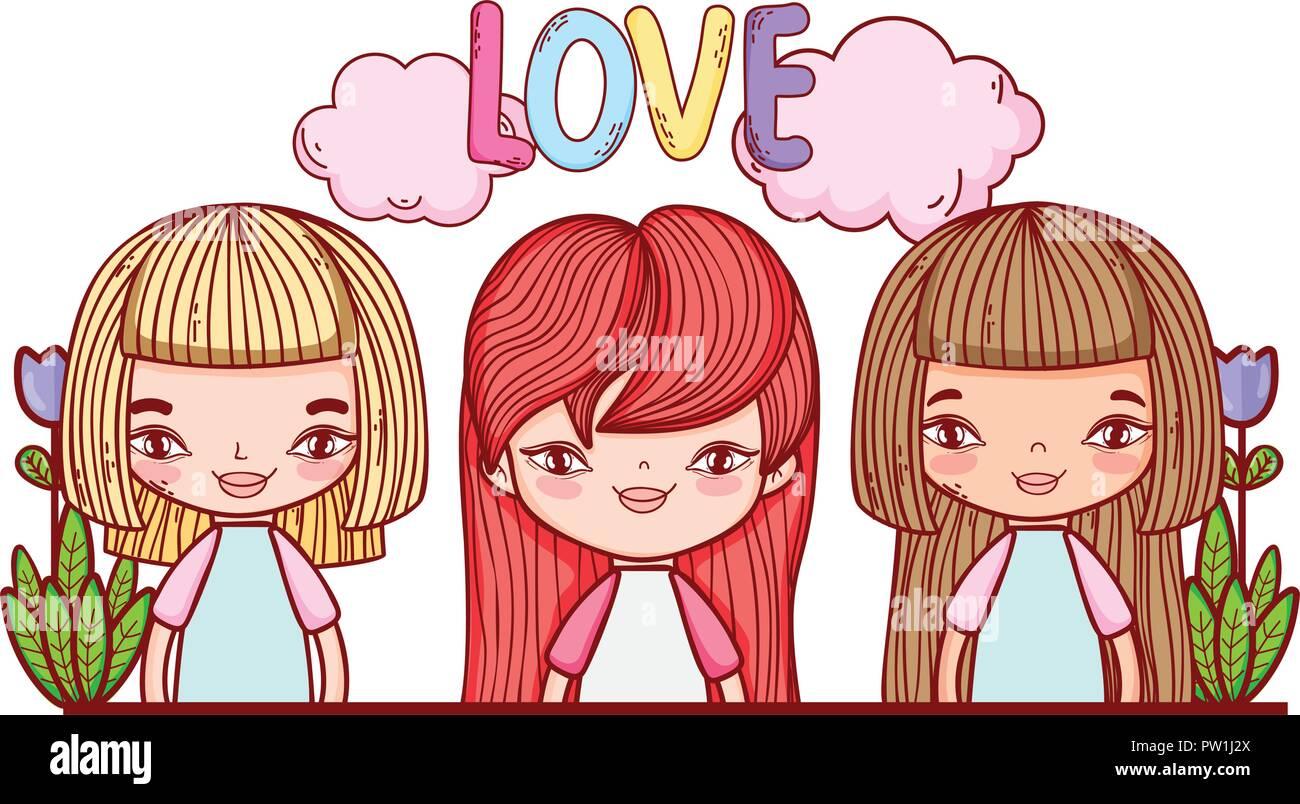 Little Girls Love Cute Drawings Stock Vector Art