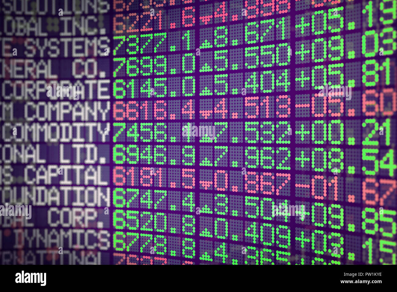 An index table in dot matrix font style showing rising and falling lines. - Stock Image