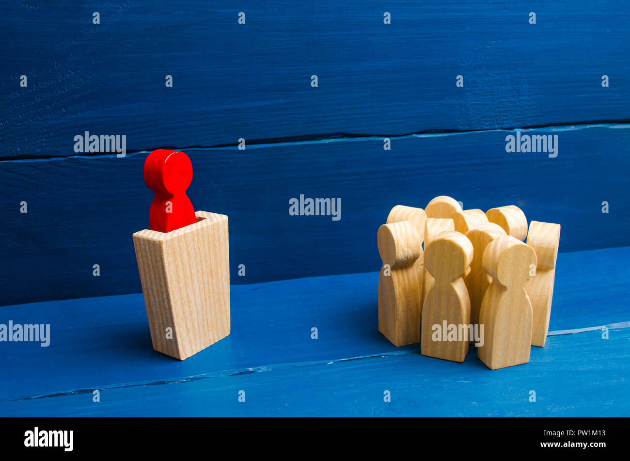 Business concept of leader and leadership qualities, crowd management, political debate and elections. Business management. The leader from the rostru - Stock Image