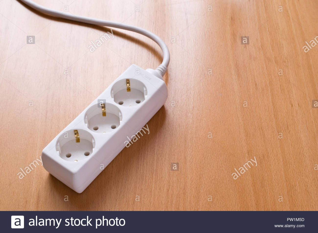 Multiple Socket Outlet On Wooden Floor Stock Photo 221928601 Alamy