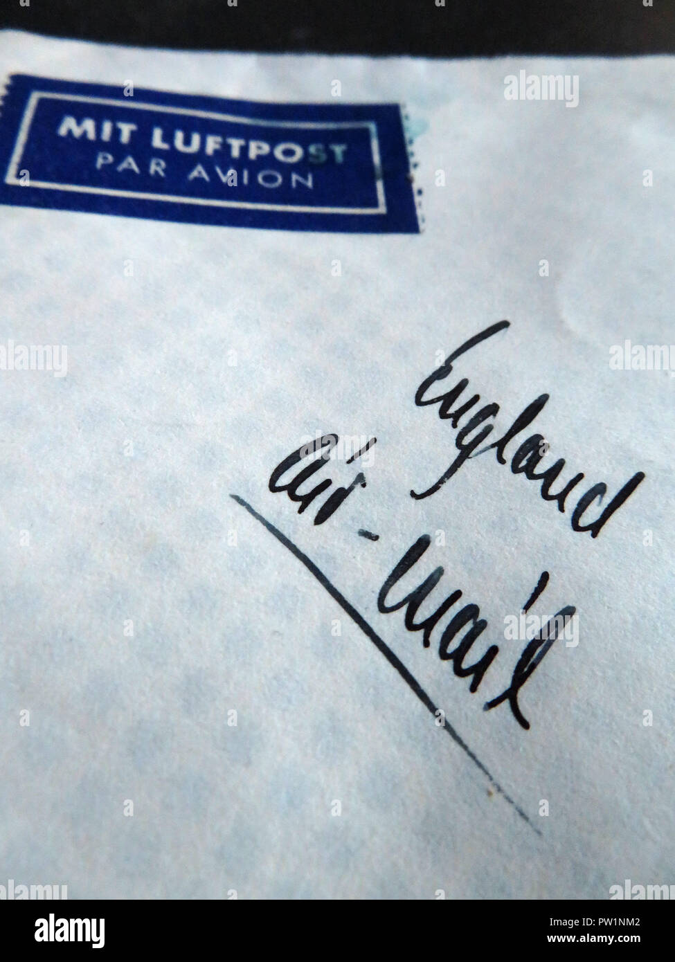 Hand written Airmail Letter from abroad - Stock Image