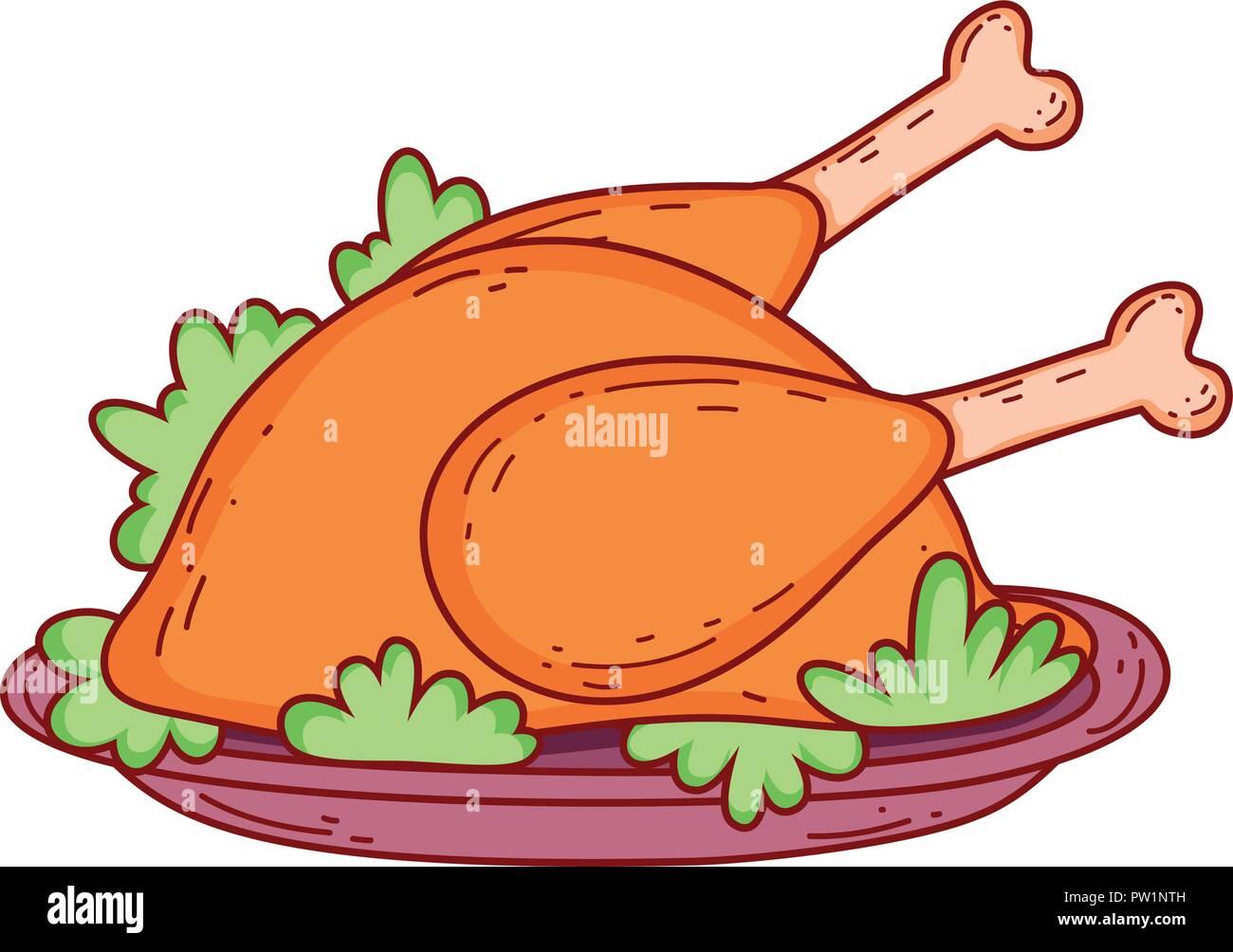 Roasted chicken cartoon - Stock Vector