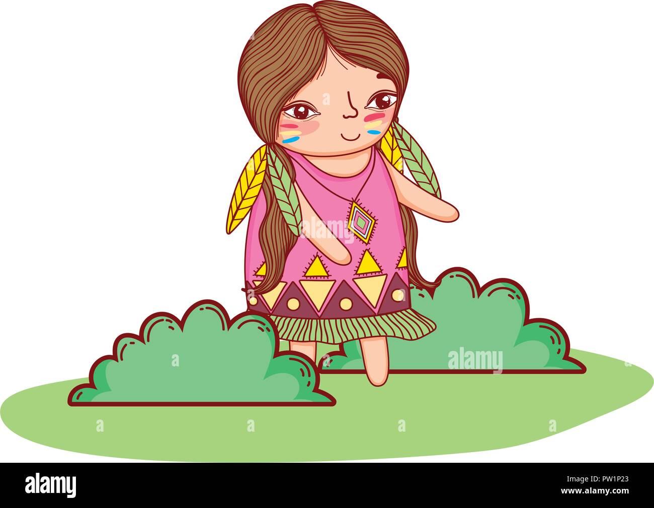 American indian girl cartoon - Stock Image