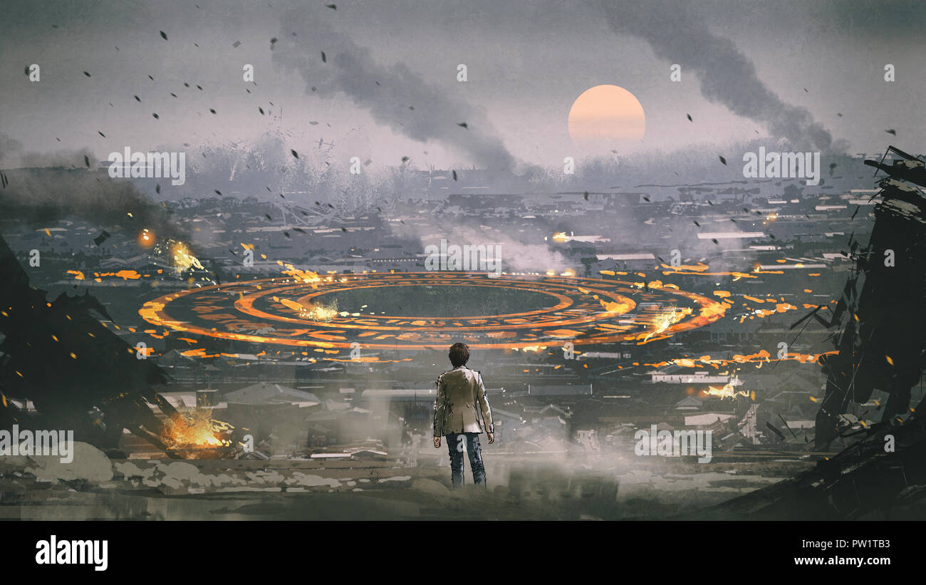 post apocalypse scene showing the man standing in ruined city and looking at mysterious circle on the ground, digital art style, illustration painting - Stock Image