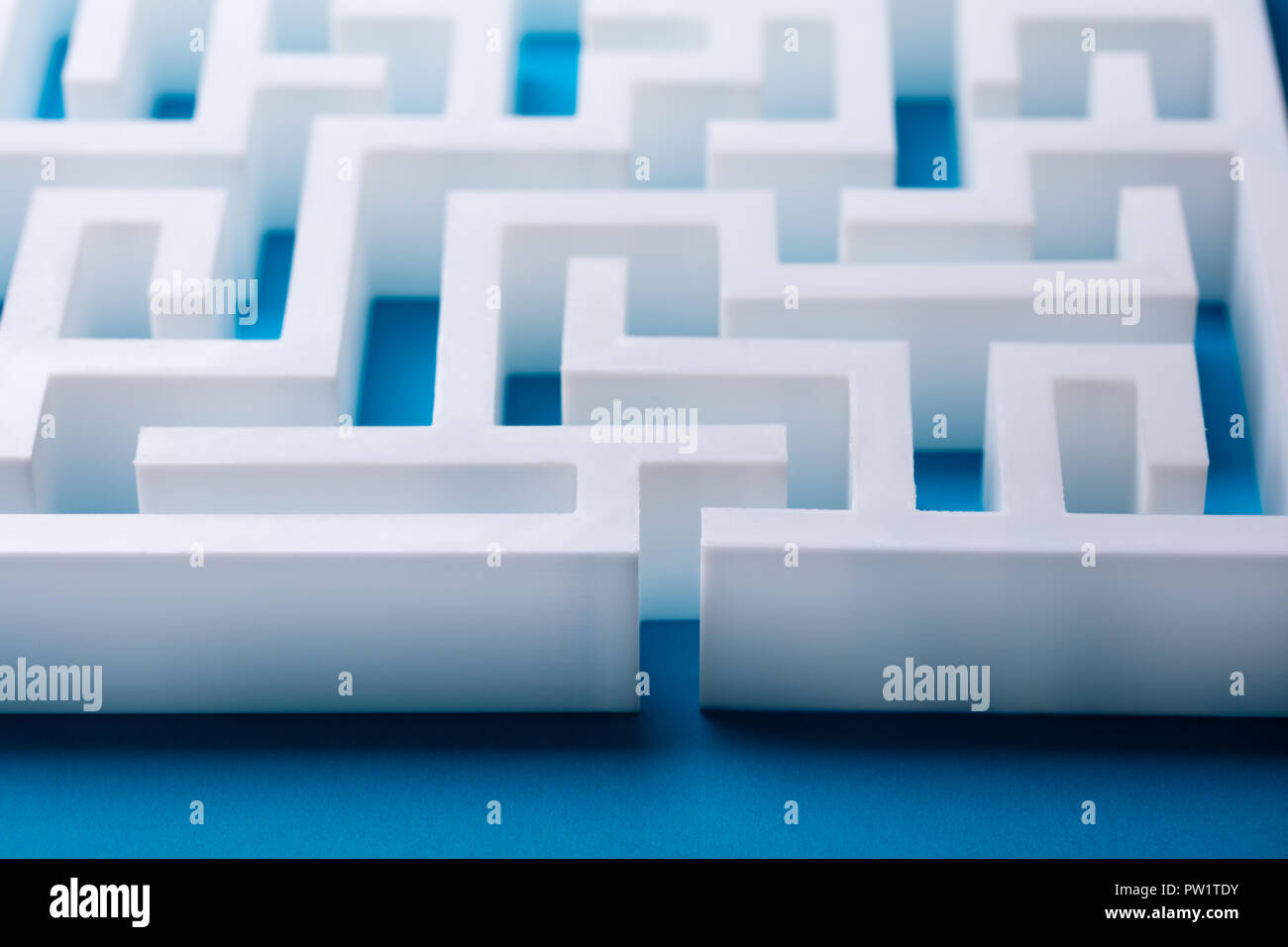 Overhead View Of Abstract Empty White Labyrinth - Stock Image
