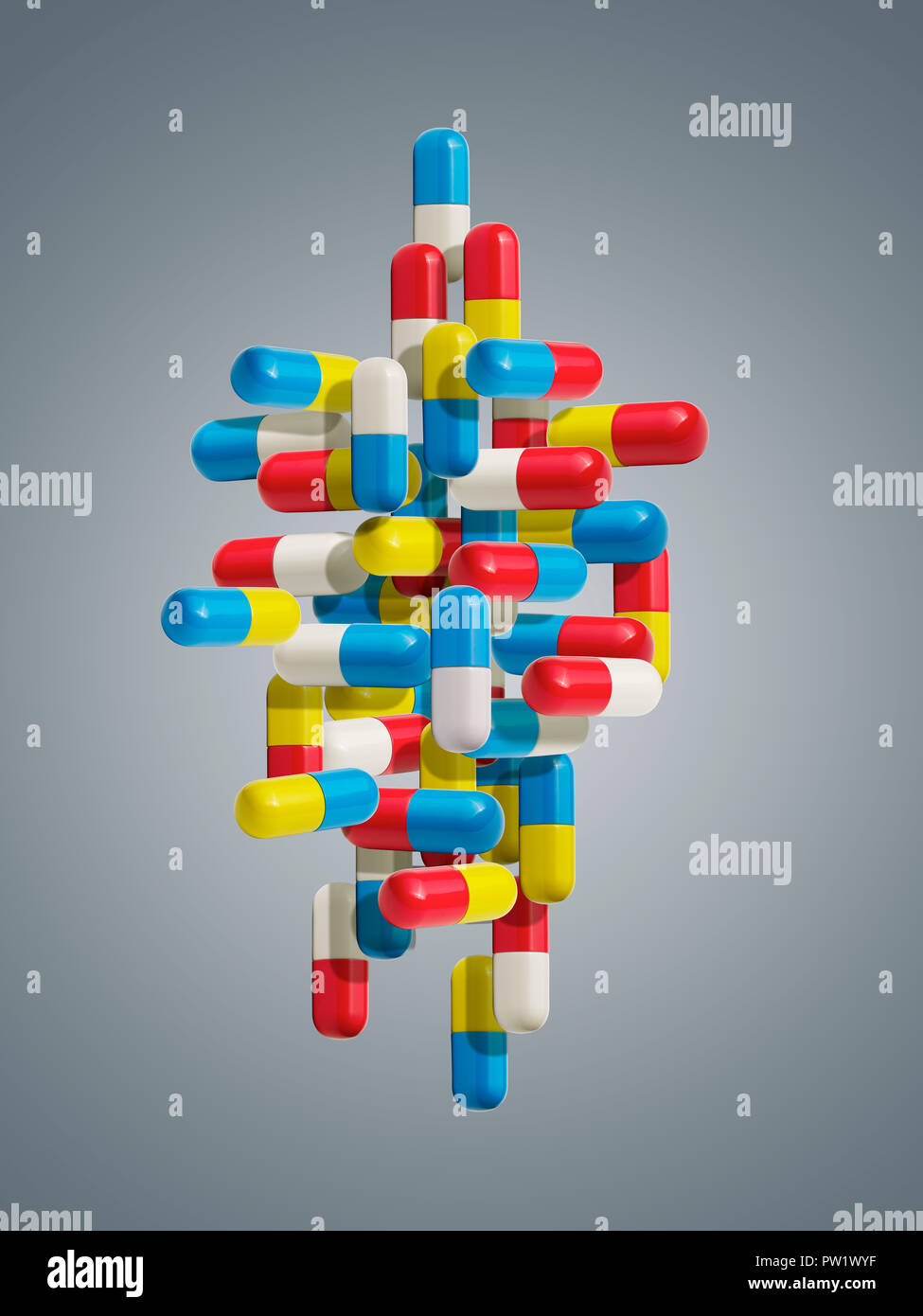 Concept a group of Color Pills line up Horizontally and Vertically, Pill Direction, Adverse Prescription, Side Effects, The Right Cure - Stock Image