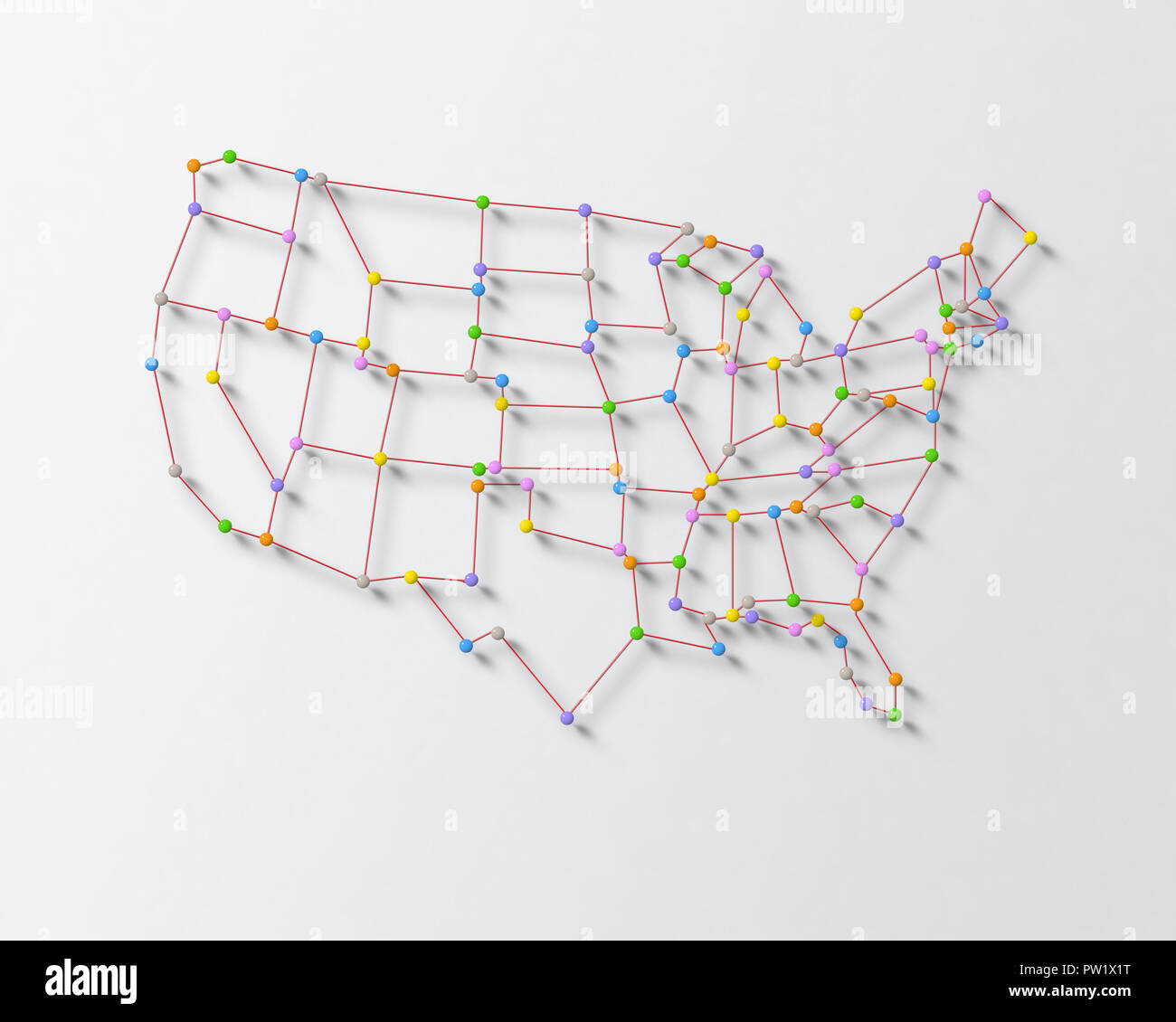 Map Of Usa With Pins.Color Pins And Tread On A Surface Forming United States Map Usa Us