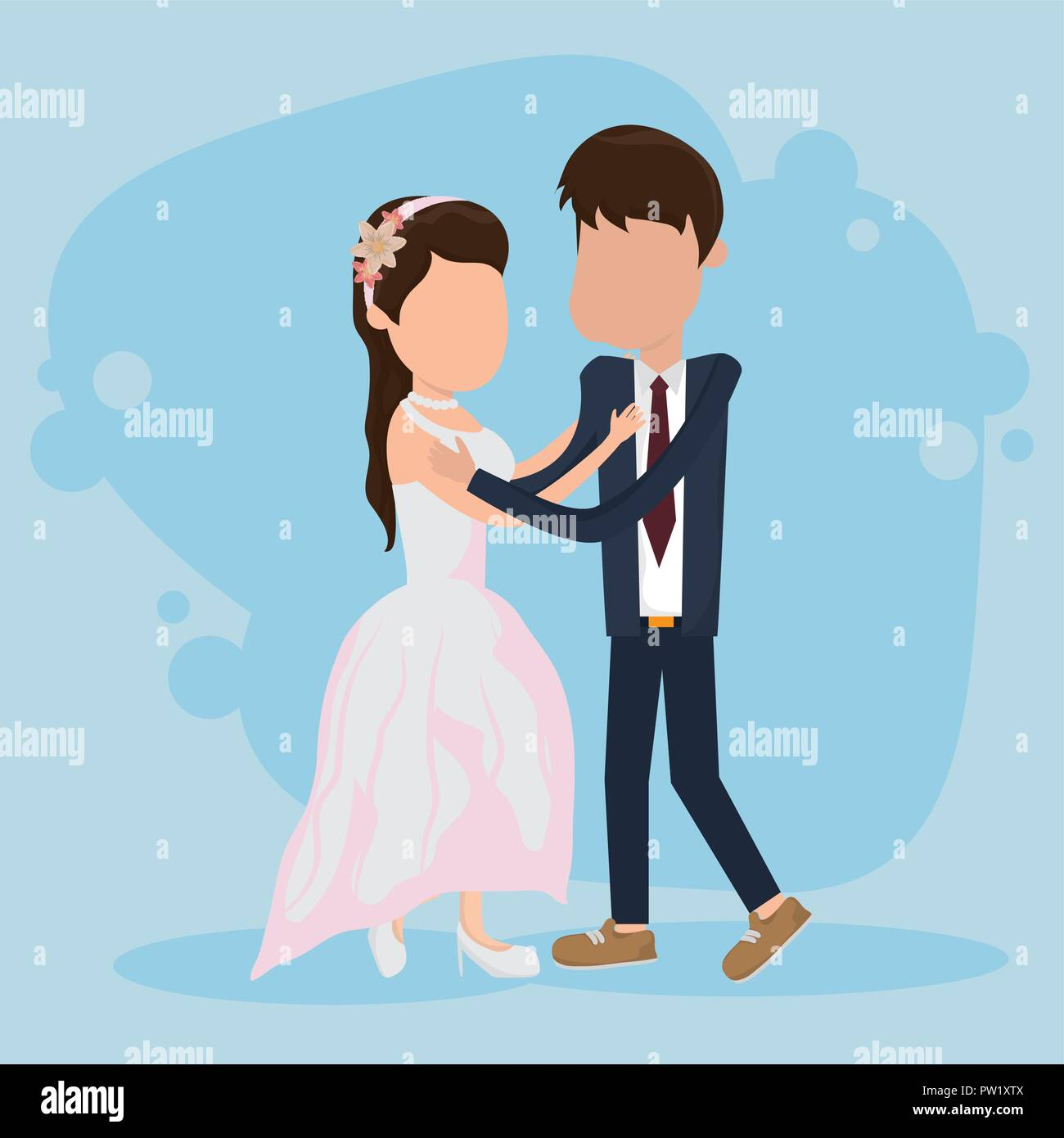 Wedding Just Married Card With Cute Couple Cartoon Stock Vector