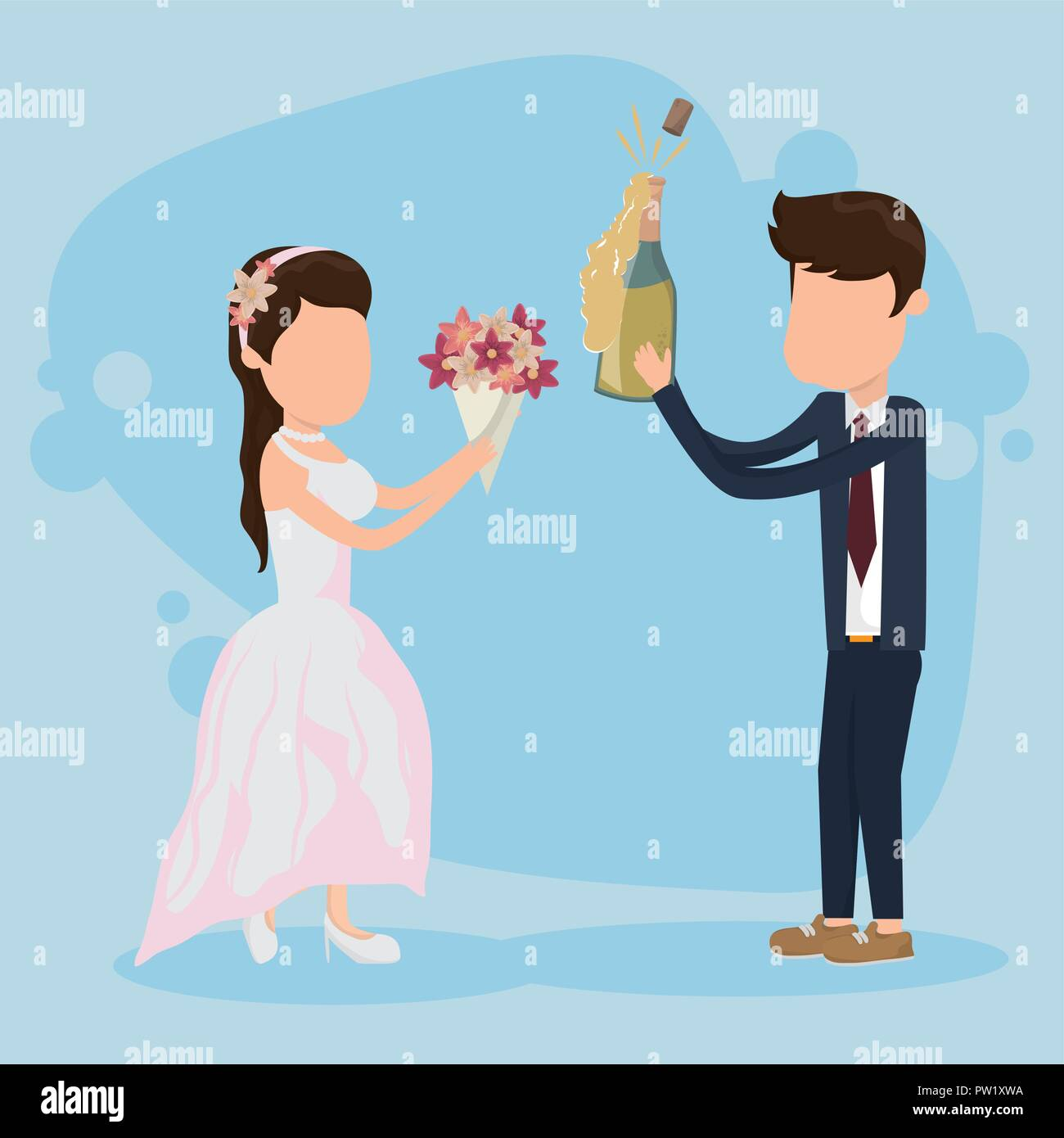 Wedding Just Married Card With Cute Couple Cartoon Stock Vector Image Art Alamy