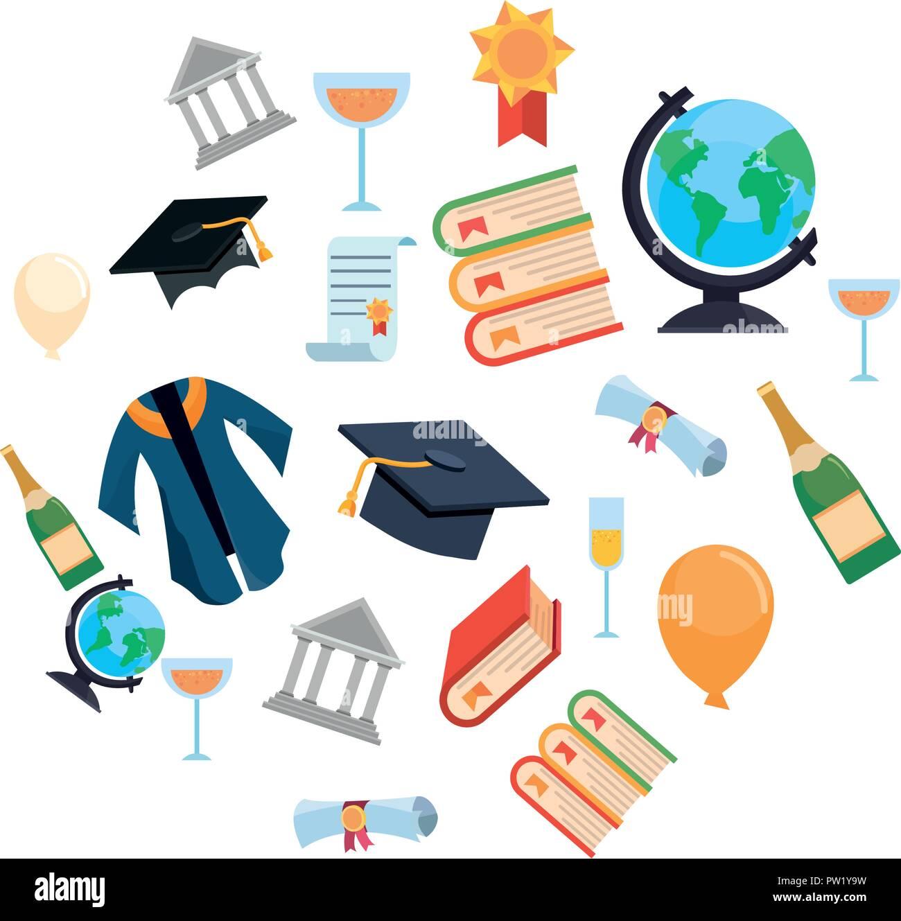graduation school hat diploma books robe certificate set vector illustration - Stock Image
