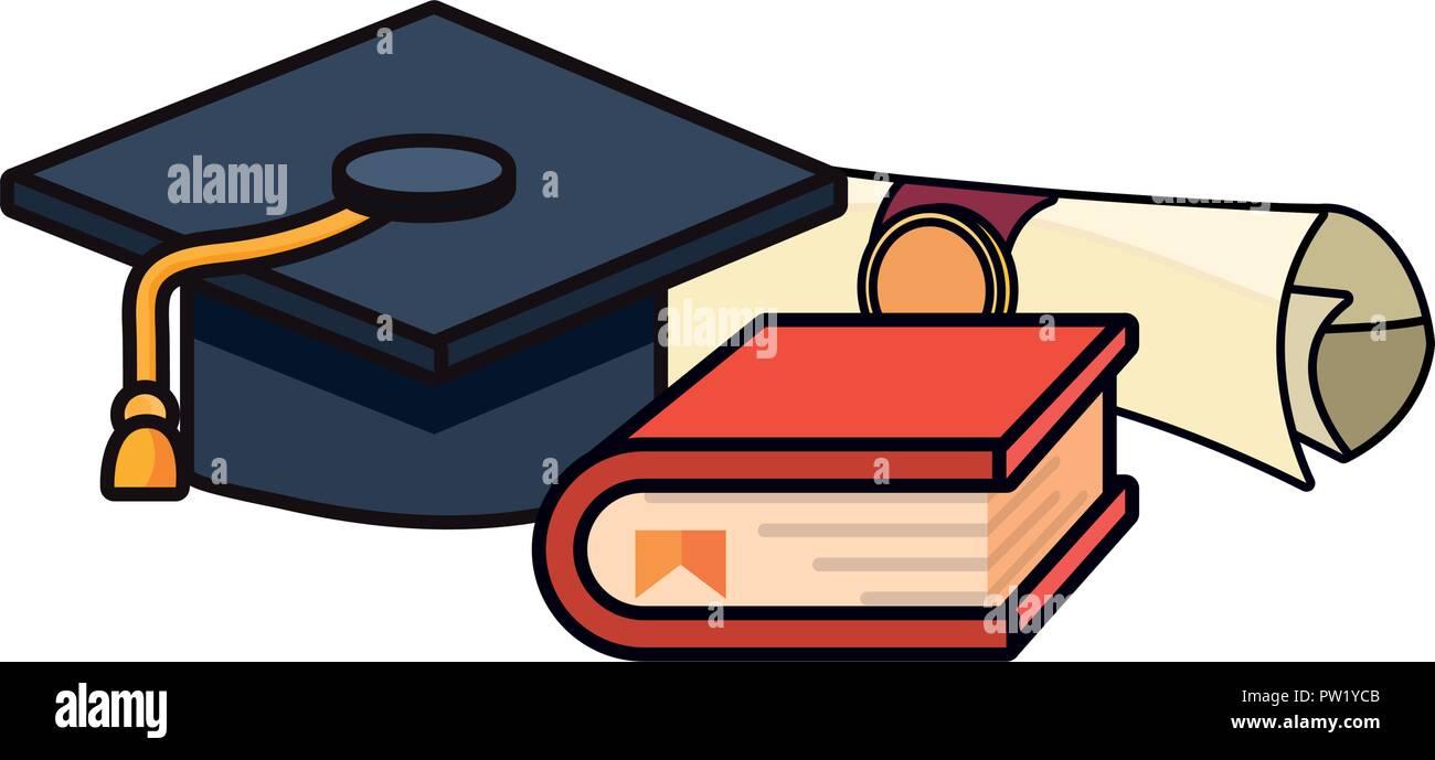 graduation hat book and diploma school vector illustration  - Stock Image