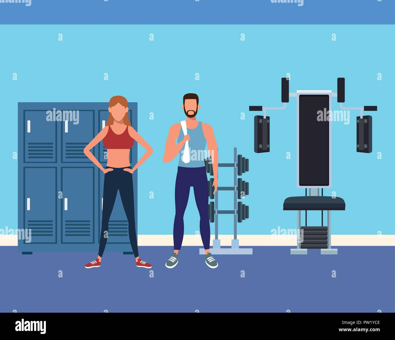 Place with locker of sport gym vector illustration design royalty