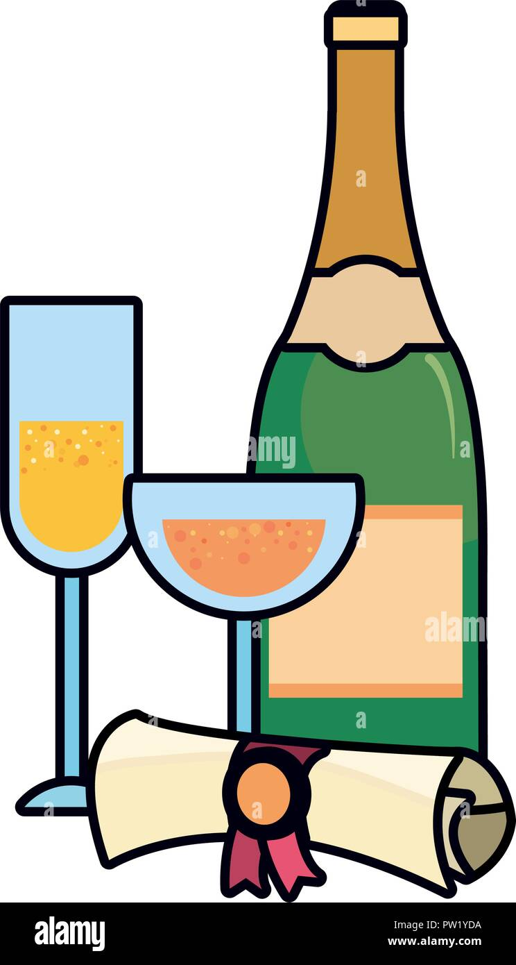 graduation certificate and champagne glasses vector illustration - Stock Image
