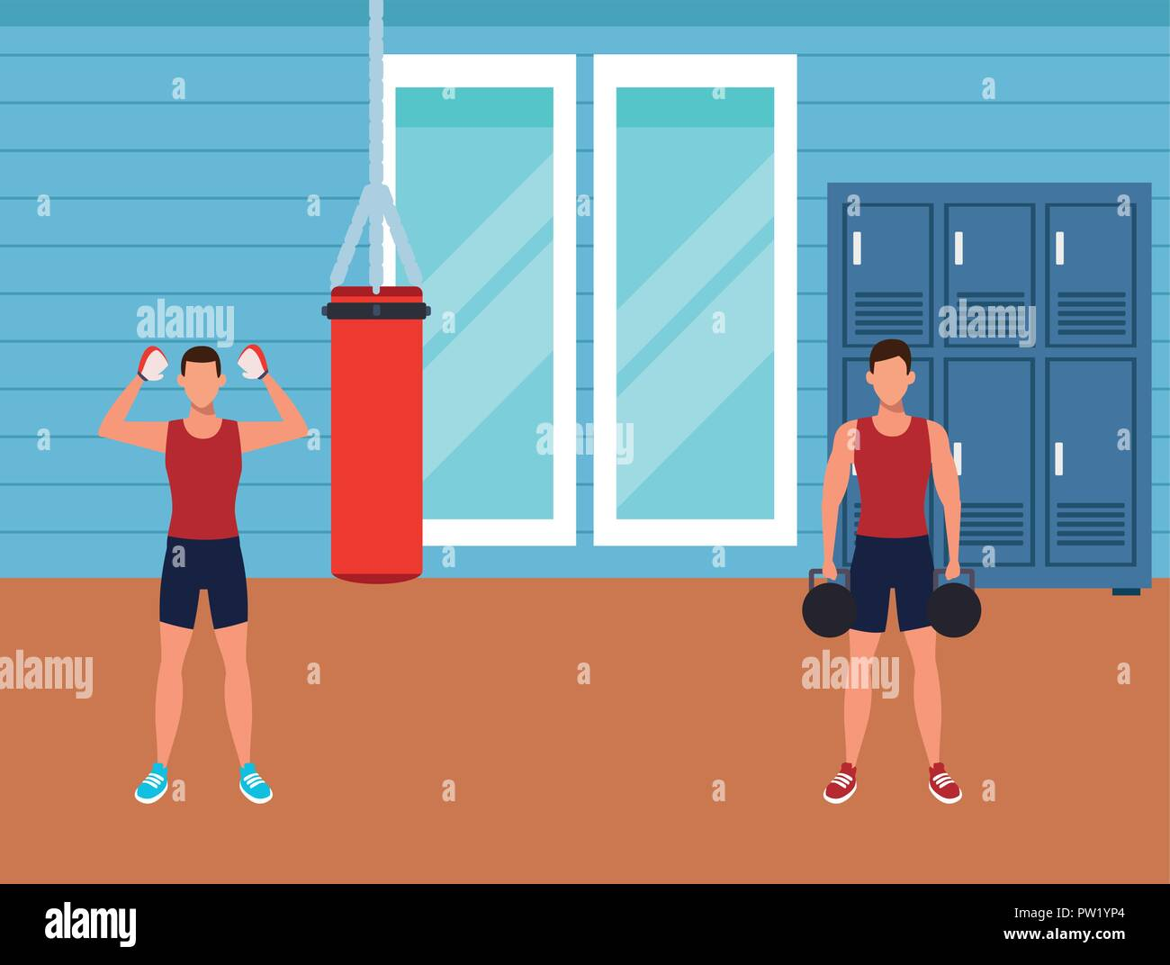 Top empty gym room clip art vector graphics and illustrations