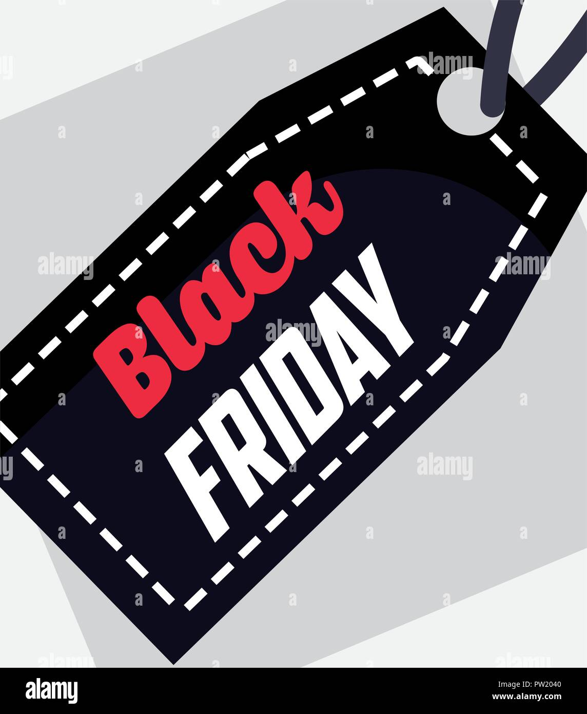 black friday shopping sales ticket clothe sign vector illustration - Stock Image