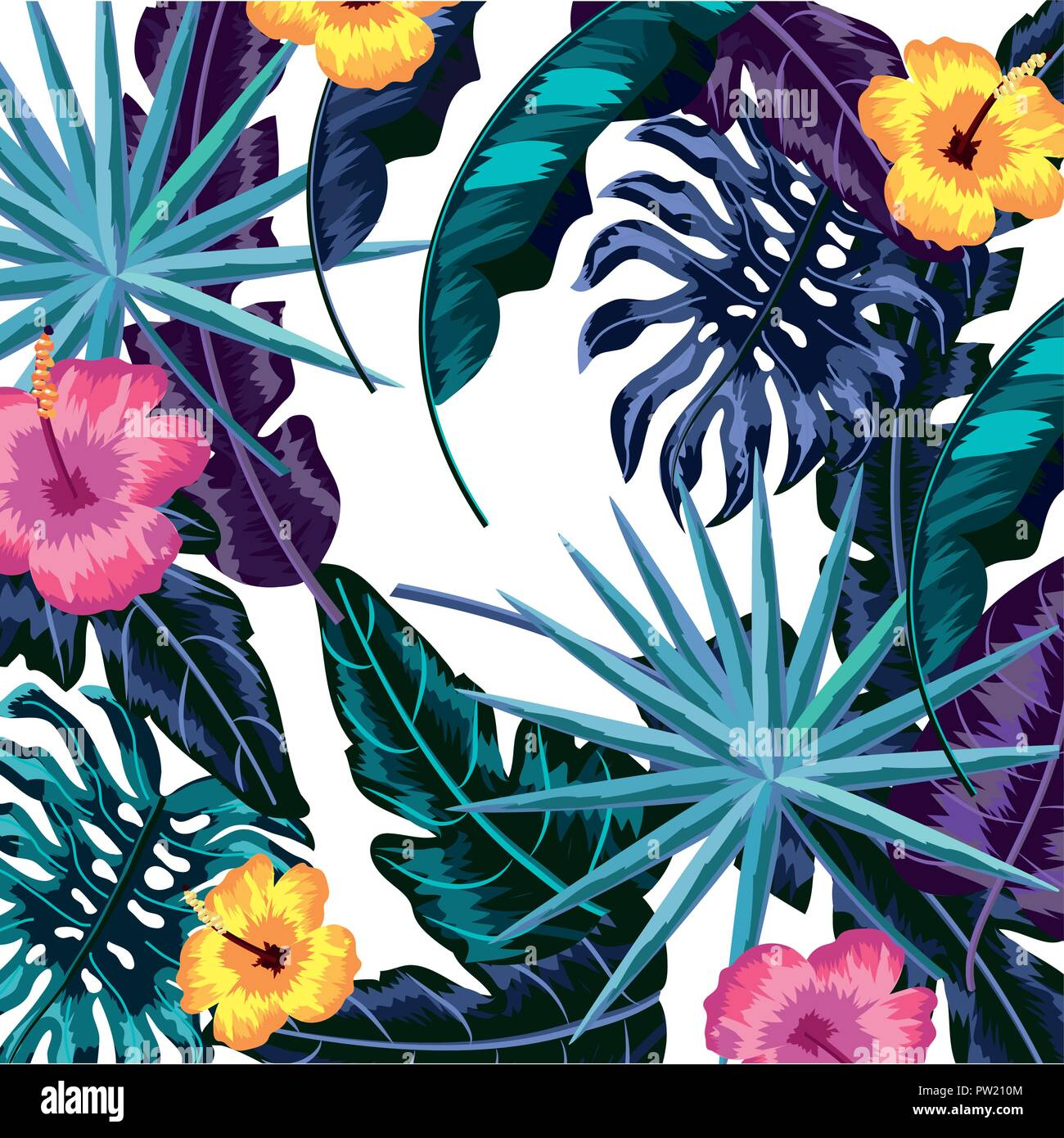 Tropical Flowers Background Stock Vector Art Illustration