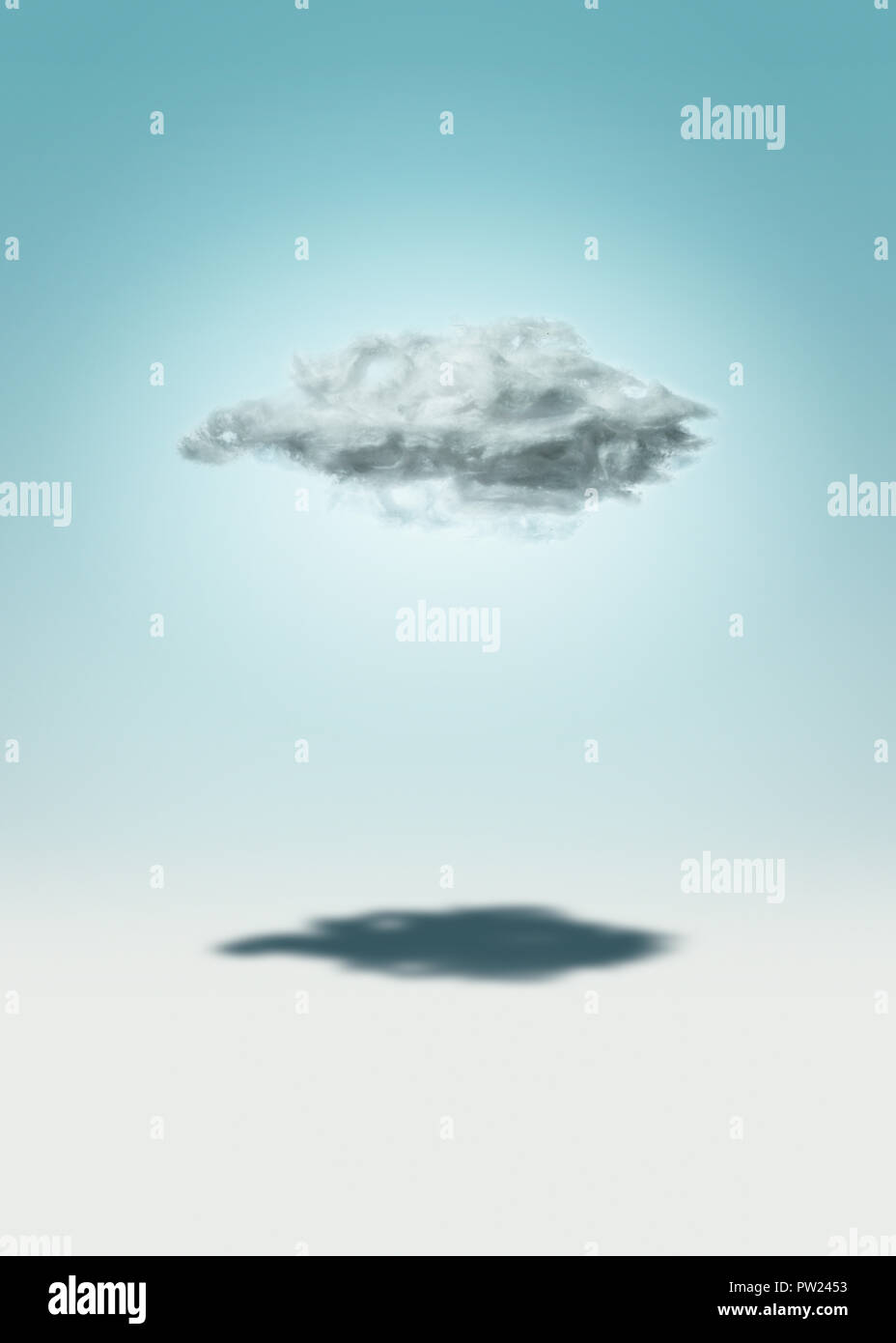 Concept A Single Cloud casting a Shadow, Loneliness, Single, Alone - Stock Image