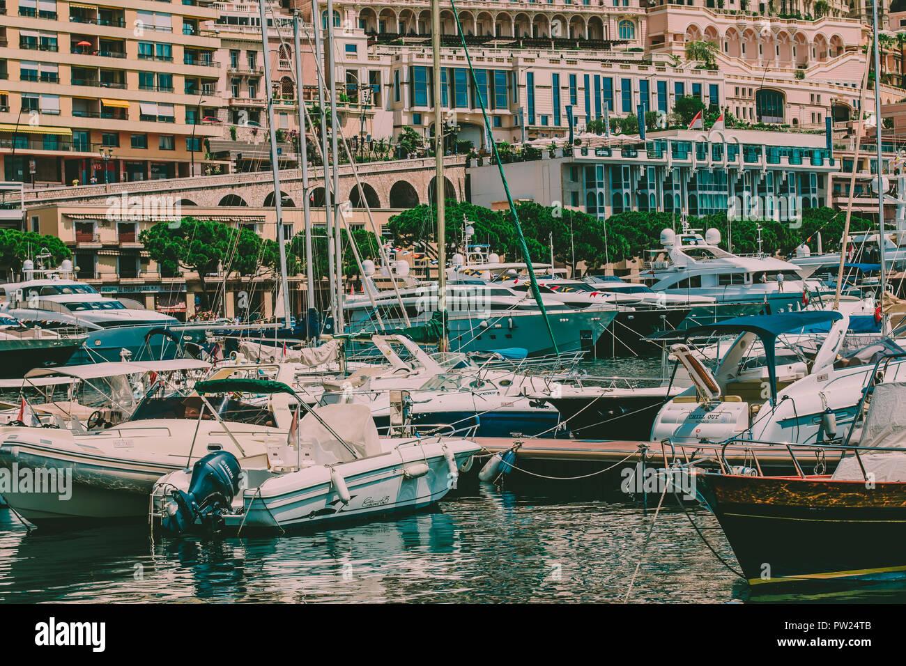 Luxury boats docket at Monte Carlo / Monaco - Stock Image