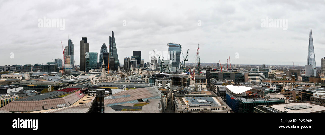 Panoramic View Looking East from St. Paul's Cathedral - Stock Image
