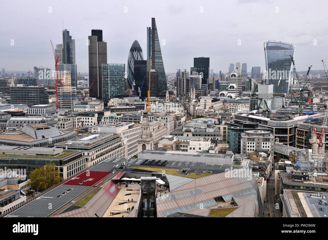 View East from the roof of St. Paul's Cathedral - Stock Image