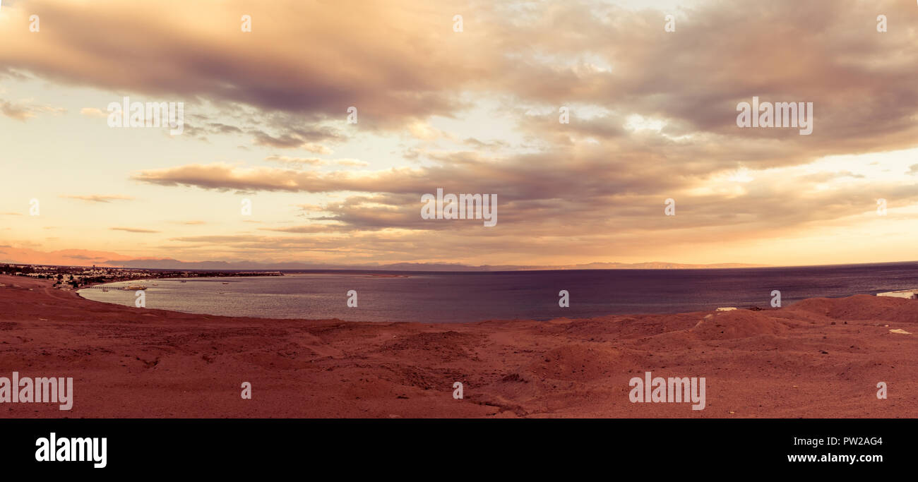 Red sea Lagoon in Dahab town, Egypt - Stock Image