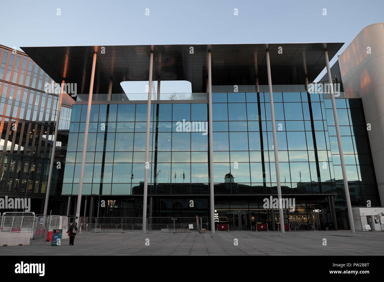 New BBC Cardiff Foster & Partners building opposite Cardiff Railway Station in Central Square Cardiff, Wales UK  KATHY DEWITT - Stock Image